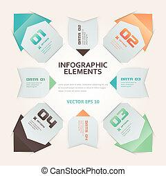 origami, style, infographic, moderne, illustration