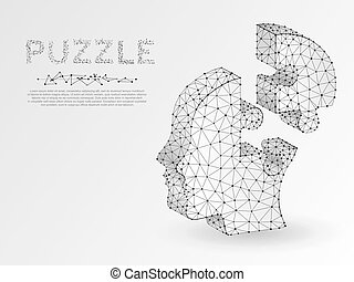 Origami style Jigsaw Puzzle head. Business infographic. Neon low poly human head in form of puzzle. Vector autism