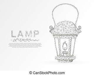 Origami style Lantern with the candle. Polygonal space low poly with connecting dots and lines. Light in the dark concept. Connection wireframe structure. Vector on white background