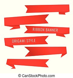 origami style red ribbon banners set