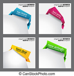Origami style speech bubbles for corner positioning.
