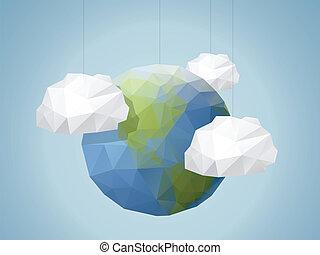 Origami Style World background
