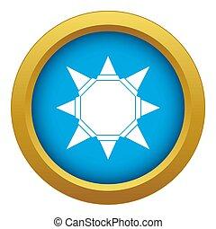 Origami sun icon blue isolated