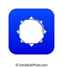 Origami sun icon blue