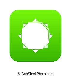 Origami sun icon green