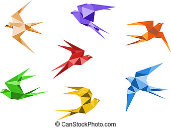 Origami swallows - Swallows birds set in origami style...