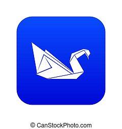 Origami swan icon blue