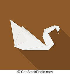 Origami swan icon, flat style