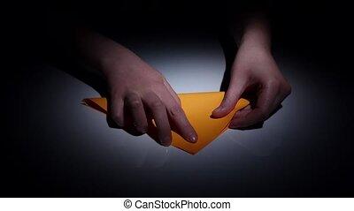 Origami symbolic illustration. Time lapse. Closeup - Origami...