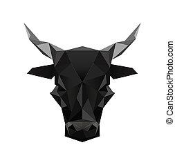 origami, symbool, black , stier