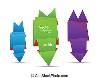 origami, szalagcímek, nyíl