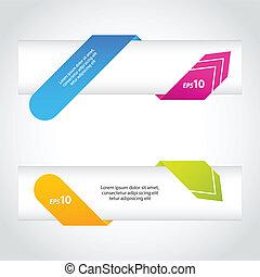 origami, szalagcímek, színes, nyíl