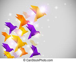 origami, tło, abstrakcyjny, ptaszki