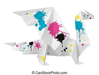 origami, tinta, esguichos, dragão
