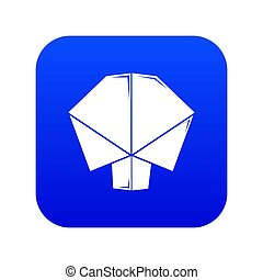 Origami tree icon blue