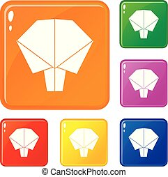 Origami tree icons set vector color