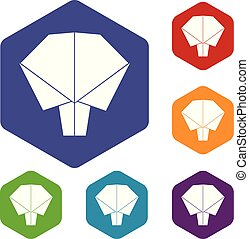 Origami tree icons vector hexahedron