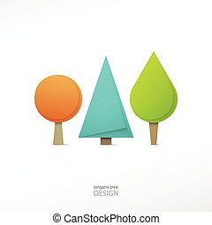 Set Of Origami Style Tree Icons Isolated On White Background Vector Cartoon Trees Ecology Concept Graphic Design