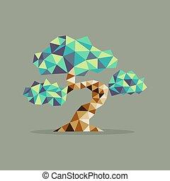 Origami triangle Bonsai tree illustration - Origami Bonsai ...
