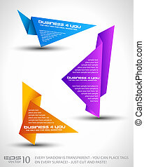 Origami triangle style speech Banner . All shadows are ...