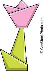 Origami tulip icon, cartoon style