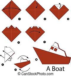 origami, un, boat.
