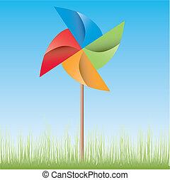 origami, väderkvarn, färgrik