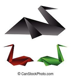 origami, vecteur, illustration, pélican