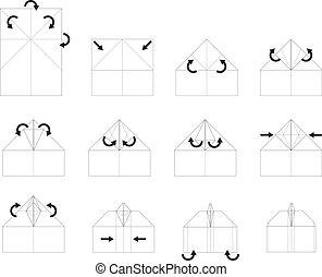 origami, vecteur, instruction