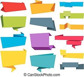 origami, vector, spandoek, lint, etiket