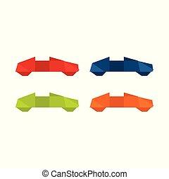 origami, vetorial, ilustração, car