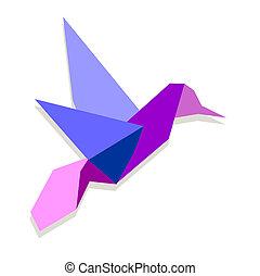 origami, vibrante, cores, hummingbird