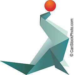 origami, vibrante, cores, selo