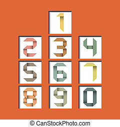 Origami vintage numbers in 3D square with reflect.Vector illustration EPS10