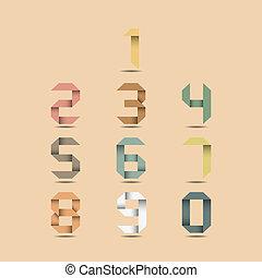 Origami vintage numbers.