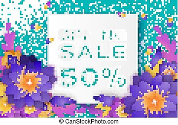Origami violet Super Spring Sale Flowers Banner. Paper cut Floral card. Spring blossom. Happy Womens Day. 8 March. Text. Seasonal holiday on blue. Spring Sale Poster, Flyer, voucher discount.