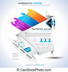 Origami Website - Elegant Design for Business Presentations. Template with a 3 side choices panel. Transparent shadows.