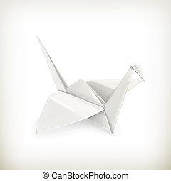 origami, wektor, żuraw