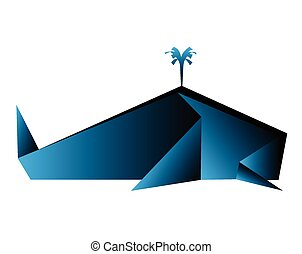 origami whale vector illustration