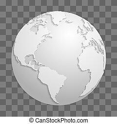 Origami white paper world globe isolated on transparent background