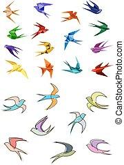origami, y, contorno, golondrinas, aves