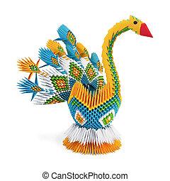 origami, yellow-blue, ptáček