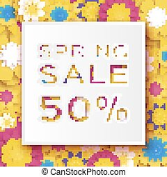 Origami Yellow Spring Sale Flowers Banner. Paper cut Floral card. Spring blossom. Happy Womens Day. 8 March. Text. Seasonal holiday.Trendy decor. Spring Sale Poster, Flyer, voucher discount.