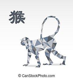 origami, zodiac aap, veelhoek
