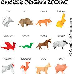 origami, zodiac, chinees, tekens & borden