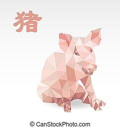 origami, zodiac, veelhoek, varken