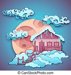 Origamy house with moon on night sky. Vector illustration