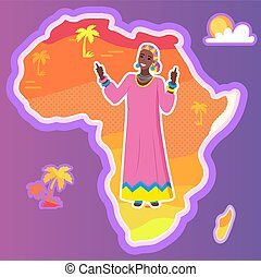 origen, mapa, africano, áfrica, vector, étnico, mujer