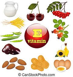 origen, planta, e, vitamina, ilustración, alimentos