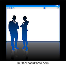 Business people on background with web browser blank page